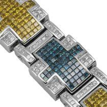 14K White Gold Mens Hip Hop Diamond Bracelet with Blue and Yellow Diamonds 38.13 Ctw