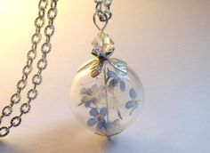 DANDELION NECKLACE with real forgetmenot silver by Annaleasfinest, $31.34