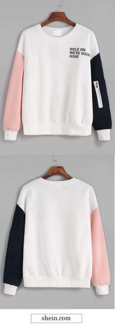 Contrast Drop Shoulder Letter Print Sweatshirt  Collect.