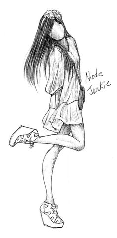 Mode Junkie Drawing Sketches, Pencil Drawings, Dress Sketches, Fashion Illustration Sketches, Fashion Sketches, Cool Drawings, Illustration Art, Sketching, Girl Sketch