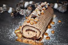 """La bûche de Noël chocolat et crème de marron de Sophie du blog """"Gourmand et croquant"""" inspirée du blog """"Recettes by Hanane"""""""