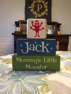 Mommy's little monster baby gift kids room playroom birthday shower gift Mother's Day distressed wood blocks personalized custom gift on Etsy, $31.95
