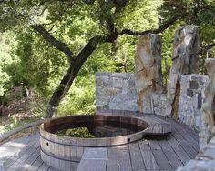 Invigorating garden design with a small plunge pool to relax - Garten - Garden Deck Spa Design, Deck Design, Landscape Design, Garden Design, Design Ideas, Bath Design, Design Trends, Whirlpool Deck, Rustic Deck