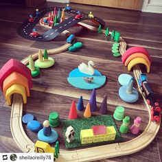 Todays play set up for big sis coming in from nursery? Havent played with the train set for a long time! Montessori Playroom, Baby Playroom, Baby Boy Rooms, Montessori Quotes, Toddler Fun, Toddler Toys, Baby Toys, Craft Activities For Kids, Infant Activities