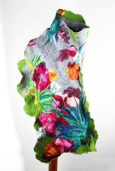 Felted+Scarf+Nunofelt+Wrap+Grey+Scarves+Felt+Nunofelt+by+filcant,+$119.00
