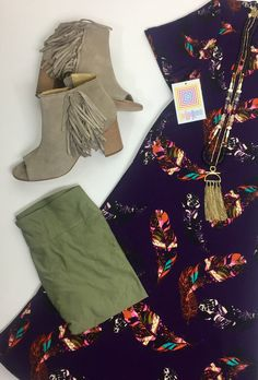 Easy LuLaRoe style. XS feathered Carly dress paired with army green one size leggings!