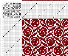 Weaving Draft Figure Atlas de 4000 Armures, Louis Serrure, France, Uncertain Date, Knitting Charts, Knitting Stitches, Knitting Designs, Knitting Patterns, Crochet Patterns, Weaving Designs, Weaving Patterns, Crochet Chart, Filet Crochet