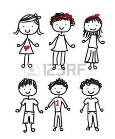 roztomilé děti izolovaných na bílém pozadí. vektorové ilustrace photo