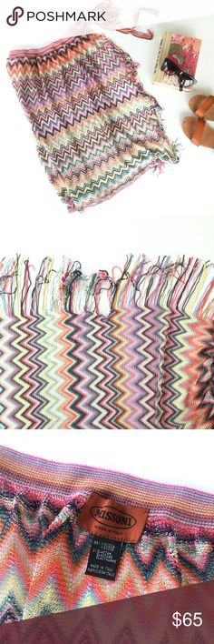 """Missoni Zigzag Wrap Pareo Multicolor Sarong Never used Missoni wrap pareo/sarong in multicolor zigzag. Damage to one fringe edge as shown. Classic Missoni zigzags pattern a beautifully woven sarong that ties at the waist, revealing a bit of skin while keeping you covered up. Waist measures 29"""" excluding ties.  * 26 1/2"""" length. * Ties at waist. * 98% viscose, 2% elastane. * Hand wash cold, dry flat. * By Missoni; made in Italy. Missoni Accessories Scarves & Wraps"""