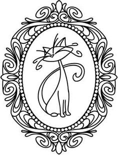 Kitty in oval frame vector