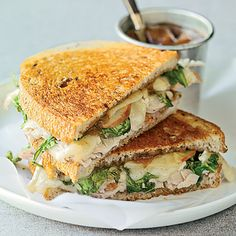 Time: 25 minutes. Apple butter used as a spread makes these grilled turkey sandwiches special, and apple slices add a little crispness.
