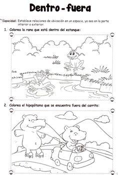 Dentro - fuera: 5 años - Material de Aprendizaje Kindergarten Math Activities, Preschool Worksheets, Activities For Kids, Kinder Mat, Kids English, Speech Language Therapy, Learning Spanish, Teaching English, Pre School