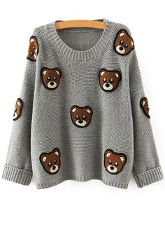 Bear Pattern Scoop Neck Long Sleeve Jumper