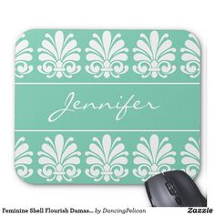 Feminine Shell Flourish Damask Personalized Mouse Pad - Looking for a special gift for a friend, family member, or co-worker? This lovely feminine design features a white shell flourish damask motif against an aquamarine background. It is ready to personalize with your name or monogram. If you prefer the item without the monogram, these design elements may be removed. Sold at DancingPelican on Zazzle.