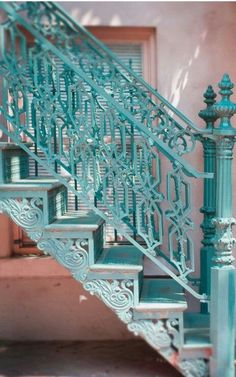 Turquoise Cast Iron Staircase.