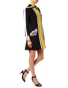 Multi Oversized Collar Coat Dress