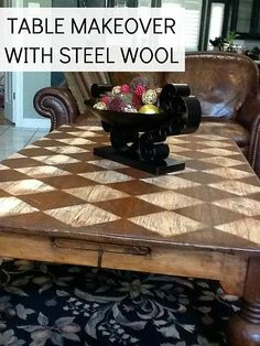 This stylish checkered coffee table makeover was done without paint or stain! All you need is some steel wool.