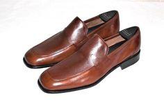 Moreschi Brown Leather Dress Loafer Slip On Made in Italy Men's US 10 #Moreschi #LoafersSlipOns