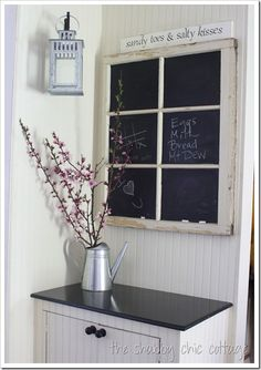 How to make a chalkboard window - The Shabby Creek Cottage. In about 30 days I will have 22 old windows to do something with! Chalkboard Window, Make A Chalkboard, Chalkboard Ideas, Chalkboard Drawings, Chalkboard Lettering, Kitchen Chalkboard, Chalkboard Designs, Chalkboard Wedding, Diy Tableau Noir