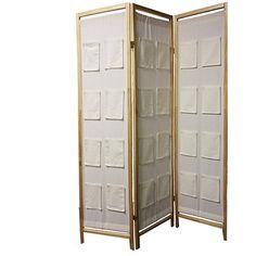 ORE International 3-Panel Wooden Room Divider with Pocket Holders, Natural