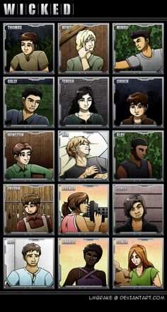 Maze Runner Characters by lmbrake. <><> I love this because it stays true to their book descriptions! (Well... except for Newt's hair length.)