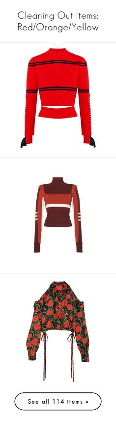 """""""Cleaning Out Items: Red/Orange/Yellow"""" by carolines-closet ❤ liked on Polyvore featuring tops, sweaters, fendi, crop top, knit, red top, cutout tops, fendi sweater, red cropped sweater and emilio pucci"""