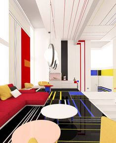 """De Stijl Mondrian Apartment by Interior Designers Brani & Desi Bulgaria-based studio Brani & Desi designs modern spaces """"where geometry, colors and functions have equal responsibility."""" Brani & Desi have turned to abstract… Bauhaus Interior, Apartment Interior Design, Diy Interior, Interior Design Studio, Modern Interior, Interior Architecture, Interior Decorating, Bauhaus Architecture, Apartment Layout"""