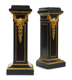 A PAIR OF LOUIS XVI STYLE GILT BRONZE MOUNTED EBONIZED PEDESTALS  FRANCE, LATE 19TH CENTURY