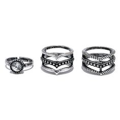 Sun Goddess Silver Ring Set ($11) ❤ liked on Polyvore featuring jewelry, rings, accessories, joias, bohemian rings, bohemian jewelry, engraved rings, silver jewellery and boho rings