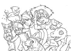 Digimon anime coloring pages for kids, printable free