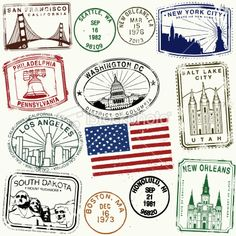 American Stamps   Retro American Travel Stamps Royalty Free Stock Vector Art ...