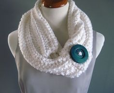 Chunky Bulky Crochet Cowl:  White With Green Button - $26