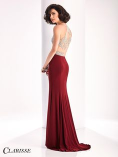 2017 Sexy Fitted Clarisse Prom Dress Style 3184. Feel sexy in this fitted jersey dress with a halter neckline, gorgeous sparkly crystals over sheer nude mesh and a side slit. Get yours today from a Clarisse retailer! Click through to see more colors! COLOR: Forest Green, Marsala, Black SIZE: 00-16