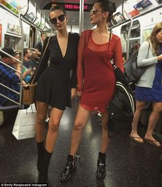 Low-key exit: Emily and Irina caught the subway together after the show, and their fellow ...