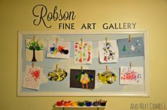 How to make a DIY kids art display in your playroom - it's a creative way to display children's artwork at home Displaying Childrens Artwork, Childrens Art Display, Play Spaces, Kid Spaces, Toddler Playroom, Playroom Design, Playroom Ideas, Playroom Art, Artwork Display