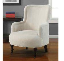 Cream Accent Club Chair Barrel Back Arm Seat Living Room White Contemporary RARE