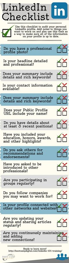The #LinkedIn checklist to provide you with a guide to better use your LinkedIn profile. #SocialMedia