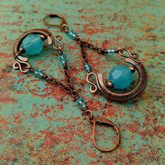 BOHO Earrings, Copper Chandelier Earrings, Rustic Wire-Wrapped Earrings, Classic…