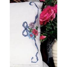 Floral Ribbon Pillowcase Pair Stamped Embroidery