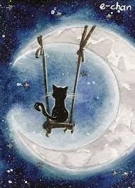 Resultado de imagen para imagenes de gatos de gatos con lunas