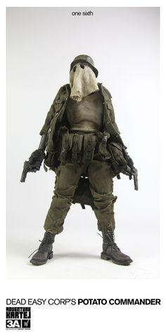 1/6th scale Dead Easy Corp Potato Commander price to be announced.   1/6th scale AKLUB Dead Easy Corp set (AKLUB release) and Dead Easy Corp Potato Commander (single figure) are coming on pre-order to Bambalandstore on September 13th, 9:00AM Hong Kong time.  1/6th scale AKLUB Dead Easy Corp ZOMB MD CRACK ZOMB SOLDIERS set costs 260USD.  #threeA #AshleyWood
