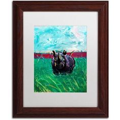 Trademark Fine Art Rhino in the Grass Canvas Art by Lowell S.V. Devin, White Matte, Wood Frame, Size: 11 x 14, Brown