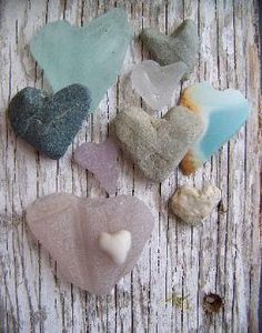 Pretty sea glass and beach stone hearts.