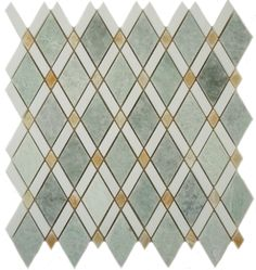 Glazzio Ming Green Marble Diamond Triangle Mosaic Tile - Glass Tile Oasis