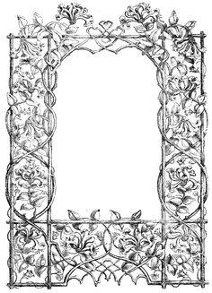 antique garden clipart images | Antique Clip Art – Faux Bois Frame