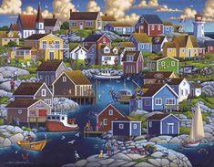 Dowdle Folk Art Collectors Jigsaw Puzzle Peggy's Cove 1000 PC for sale online Illustrations, Illustration Art, Art Village, Puzzle Art, Puzzle 1000, Naive Art, Fishing Villages, Art Plastique, All Art
