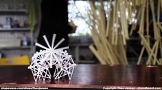 Theo Jansen and two new evolutions of the 3D printed Strandbeests, one extra large, one extra small.