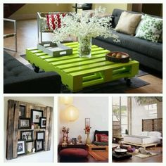 Recycle old wodden pallets. That bright green coffee table would look Great in my son's music room :)