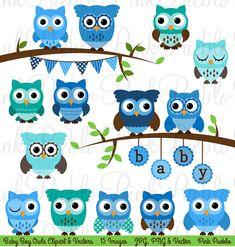 Baby Shower Boy Owl Clipart Clip Art Boy Baby Shower by PinkPueblo, $6.00