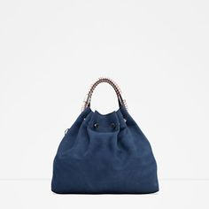 LEATHER BUCKET BAG WITH HANDLE DETAIL